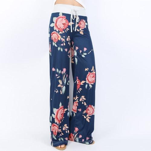 Mulheres Casual Loose Boho Pants Floral Star Striped Print Bandeira Americana High Elastic Waist Long Trousers Wide Leg Pants