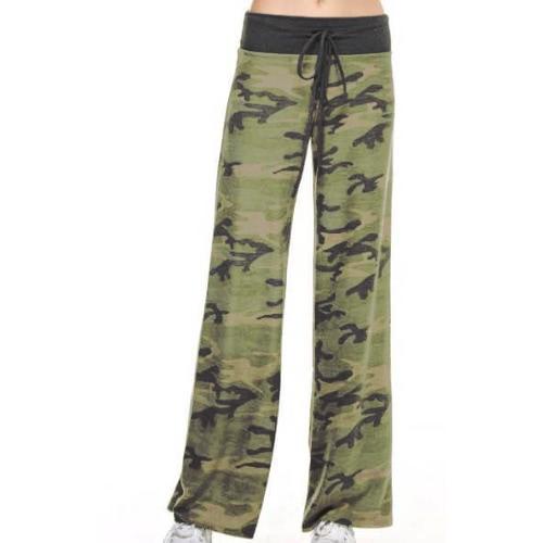 Mujeres Casual Pantalones sueltos Boho Floral Estrella de rayas Imprimir Bandera Americana Alto cintura elástica pantalones largos pantalones de pierna ancha