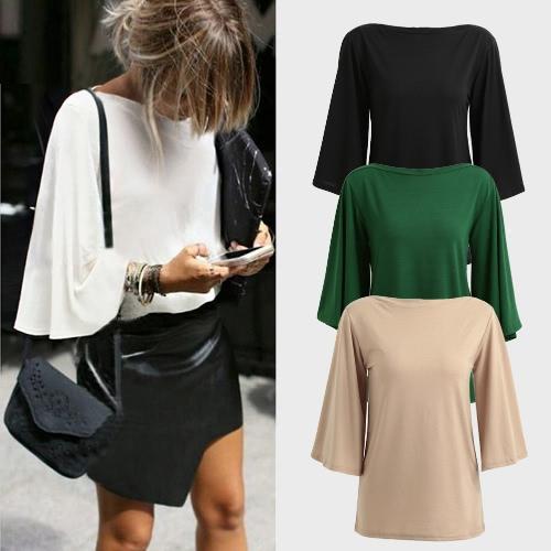 TOMTOP / Moda Mulheres Casual Blusa Barco Pescoço Três quartos Flare Sleeve Solid Slash Neck Shirt Outono Tee Tops