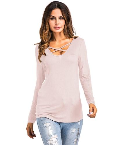 New Fashion Women Floral Wydrukowana Koszulka Cross V Neck Long Sleeves Asymetryczna Koszulka Koszulka Topy