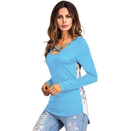 Blumiges gedrucktes Kreuz V-Ansatz Langes Hülsen Asymmetrisches Frauen-T-Shirt