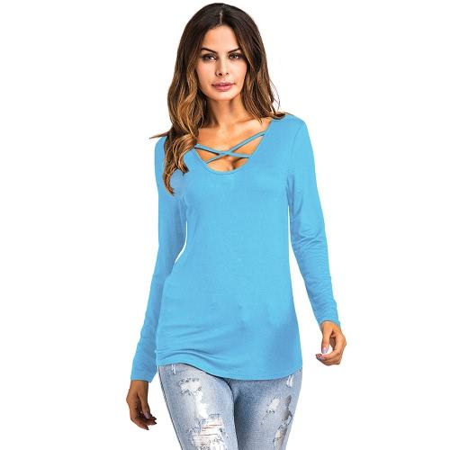 Tops asimétricos de la camiseta de las nuevas de la manera de las mujeres de la cruz de la cruz V del cuello de las mangas largas de la camiseta