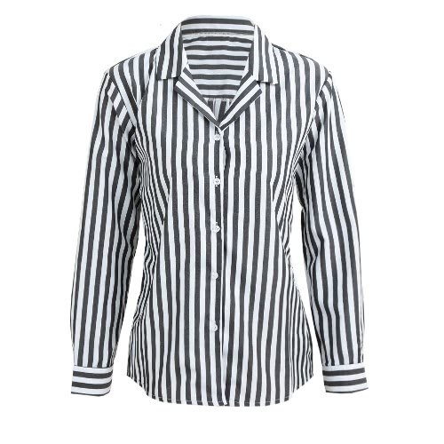 Botão de listrada Front Turn Down Collar Blusa de manga comprida de manga comprida feminina