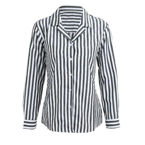 Moda Mujer Rayas Camisa Botón Abajo Collar De Manga Larga Camisa Suelta Blusa Negro / Café / Rojo
