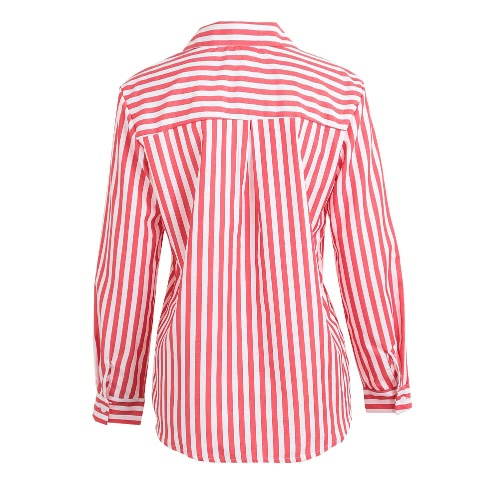 Fashion Women Striped Shirt Button Front Turn Down Collar Long Sleeve Loose Shirt Tops Blouse Black/Coffee/Red