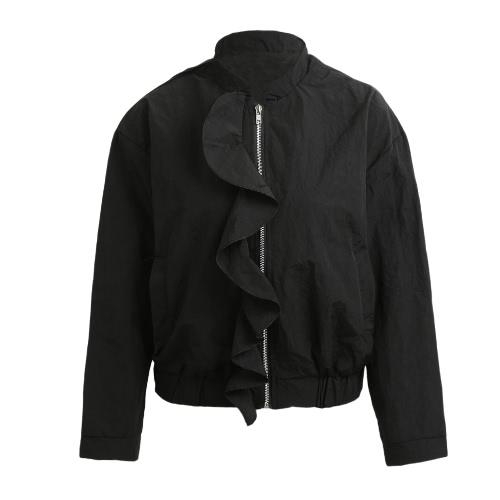 Otoño volantes mujer chaqueta cremallera mangas largas bolsillos de la capa prendas de vestir superior negro / rosa / gris