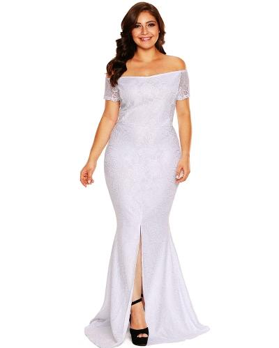 Mujeres de moda más tamaño Maxi de hombro vestido de encaje manga corta de espalda dividida trasero cremallera elegante vestido largo rosa / blanco
