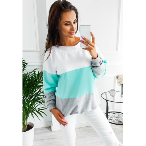 Mode Frauen Bluse Sweatshirt Kontrast Farbe Block Langarm Lace-Up Casual Loose Pullover T-Shirt Tops