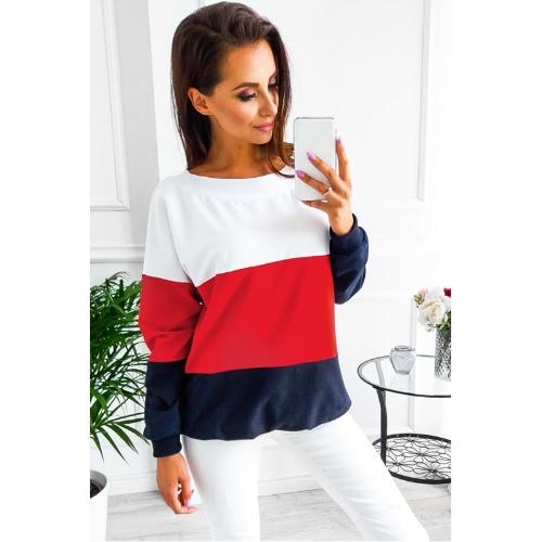 Moda Mujer Blusa Sudadera Contraste Color Bloque manga larga con cordones Casual Suéter suelto Camiseta Tops