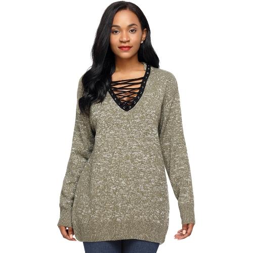 Neue Frauen strickte Pullover Lace Up Pullover Pullover V-Ausschnitt Langarm Casual Loose Strickwaren Tops