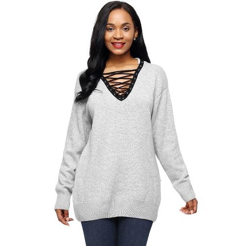 Las nuevas mujeres hicieron punto el suéter ata para arriba las camisetas flojas ocasionales del Knitwear de la manga larga del V-Cuello del puente del suéter