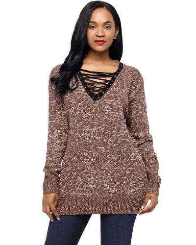 Новые женские трикотажные свитера зашнуровать пуловеры перемычки V-образным вырезом с длинным рукавом повседневные свободные трикотажные топы фото