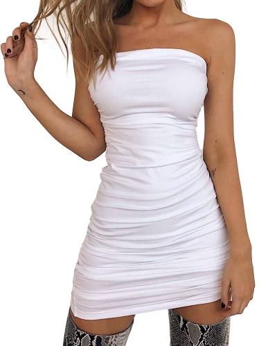 Mujeres Sexy fuera del hombro sin mangas Mini Bodycon vestido Slash cuello sin tirantes básico Party Slim vestido negro / blanco