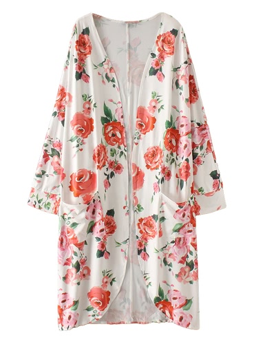 New Women Boho Kimono Cardigan Floral Print Three Quarter Sleeve Casual Loose Outerwear Coat Tops White