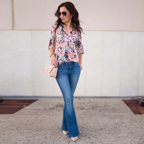 Art- und Weisefrauen-beiläufiges Hemd-Blumendruck-Umdrehungs-Kragen-lange Hülse lose Blusen-Oberseiten Rosa