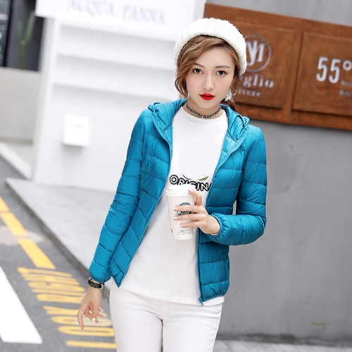 New Winter Autumn Mulheres Duck Down Jaqueta com capuz Zipper mangas compridas Slim Light Down Coat