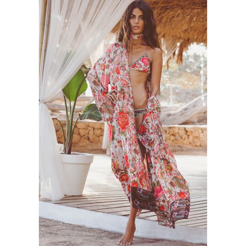 Camisa de blusa de impressão floral Longo Kimono Mulheres Cardigan Elegante Luva longa Verão Loose Beach Cover Up Prider Laranja