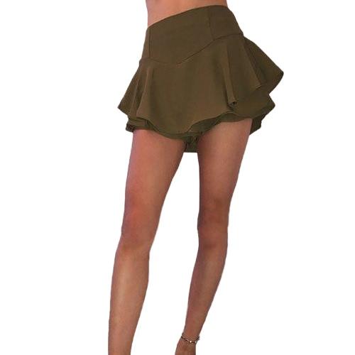Nueva falda plisada de la capa de las nuevas mujeres de la manera Micro ropa de noche A - línea falda larga del oscilación del partido de la vendimia de la cintura