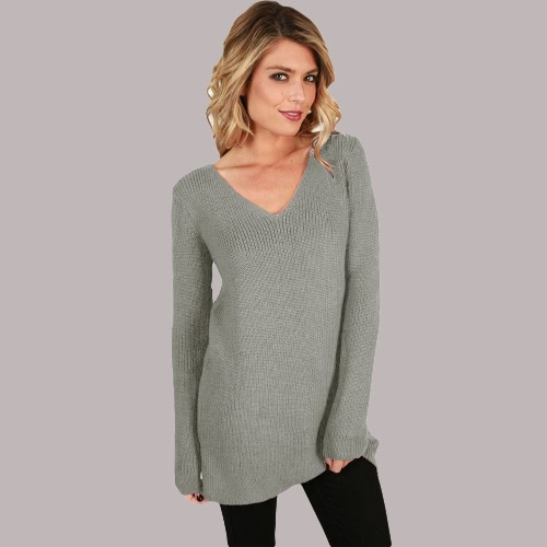 Sexy Women Loose Knitted Sweater Solid Lace Up Back Bandage V Neck Long Sleeve Hollow Out Pullover