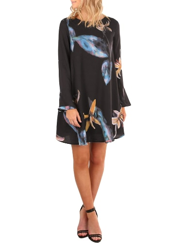 Vestito floreale delle foglie floreali dell'annata stampa flore lungamente del manicotto casuale delle donne mini vestito