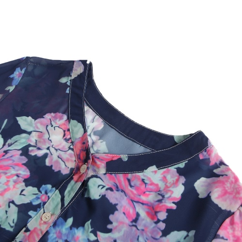 Women Floral Print Blouse Tops Vintage Autumn Clothing Button V Neck Long Sleeve Casual Pullover Dark Blue