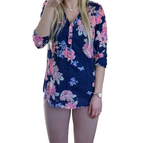 Damska Bluzka Kwiatowa Bluzka Bluzka Vintage Bluzka Jesienna Przycisk V Neck Long Sleeve Casual Pullover Dark Blue