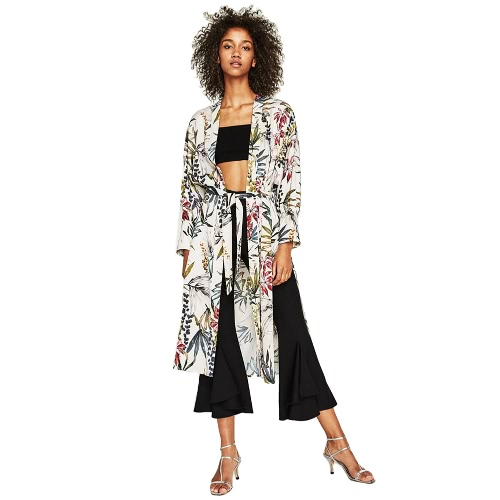 Mulheres Flower Print Sash Kimono Shirt Retro Bandage Cardigan Blusa Top manga comprida Split Boho Beach Cover Up Green