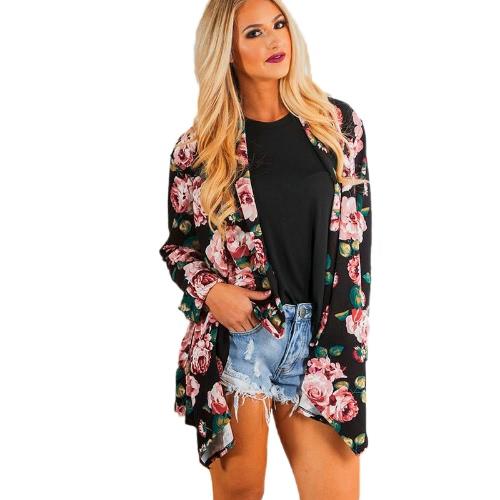 Nowe kobiety mody Kimono Cardigan Floral Print Ruffle Top Plus Rozmiar Casual Outwear Coat Black