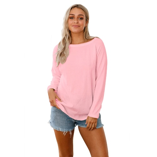 Frauen Backless lange Ärmel Pullover Pullover Cut Out Open zurück Raglan Loose Knit Top