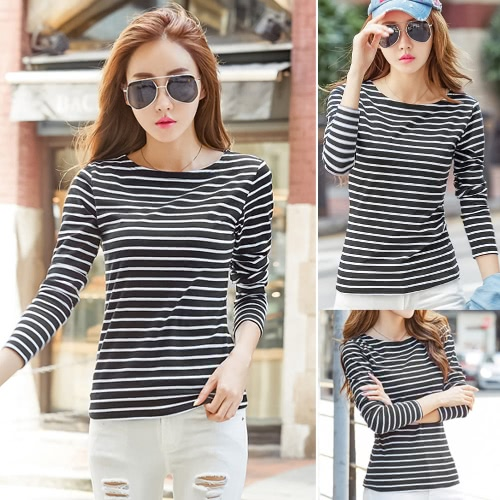 Women Striped T-Shirt Long Sleeves O Neck Vintage Casual Tees Tops Plus Size Pullover