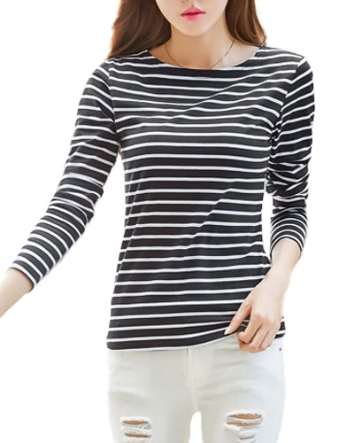 Mulheres Striped T-Shirt Manga comprida O Neck Vintage Casual Tees Tops Plus Size Pullover