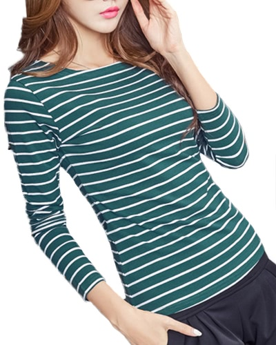 Mujeres Striped Camiseta Manga Larga O Neck Vintage Casual Tees Tops Pullover Plus Size