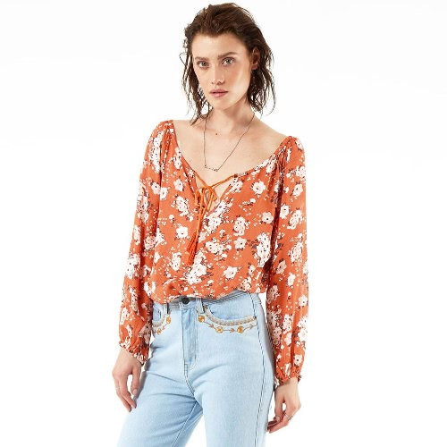 Retro gasa de impresión floral cuello en V manga larga mujer blusa