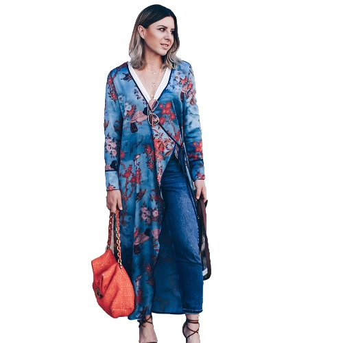 Vintage Women Plus Size Kimono Floral Bird Print V Neck Tied Ethnic Oriental Outerwear Cover Up Cardigan Blue