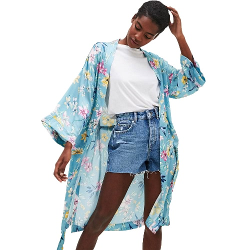 Frauen Plus Size Kimono Satin Blumendruck Open Front Tie Loose Thin Lange Elegante Bikini Cover Up Cardigan Blau