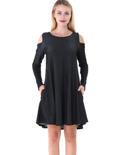 Autumn Women Mini Dress Solid Off Shoulder Long Sleeve Casual Loose Dress Black / Blue / Dark Blue