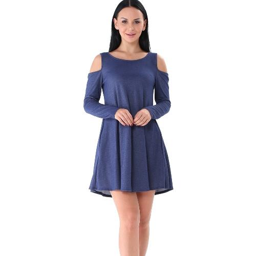 Otoño de las mujeres Mini vestido sólido de hombro de manga larga informal suelta vestido negro / azul / azul oscuro