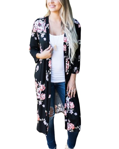 New Retro Women Long Cardigan Kimono Open Front Impressão Floral 3/4 Sleeve Vintage Outerwear