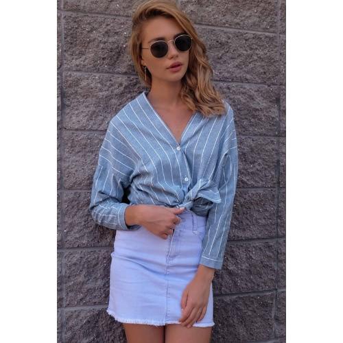 Fashion Women Striped V Neck Long Sleeve Blouse Shirt Button Front Asymmetric Hem Loose Blouse Top Light Blue
