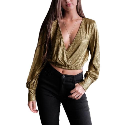 Mujeres atractivas Deep V cuello linterna manga de cosecha superior Metallic lentejuelas Wraparound manga larga Slim blusa negro / oro