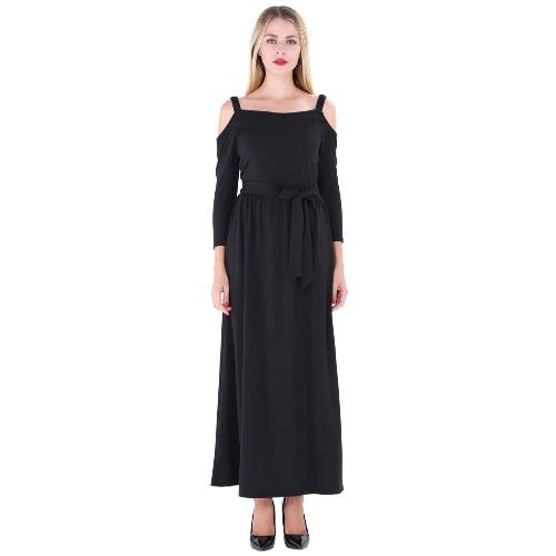 Nuevo vestido largo de las mujeres de la correa del color sólido del hombro 3/4 mangas elegante ocasional A-Line Dresses