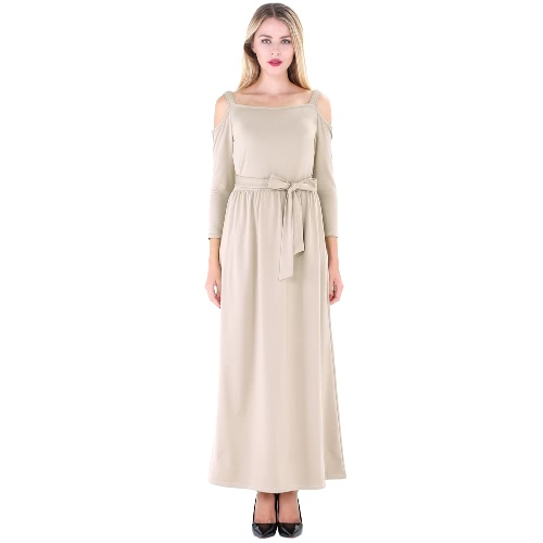 New Women Long Dress Off Shoulder Cor sólida Belt 3/4 Sleeves Elegant Casual A-Line vestidos