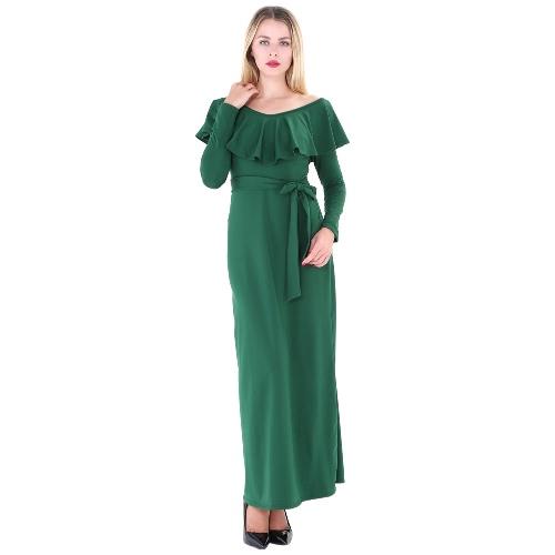 Mulheres elegantes Maxi Vestido Ruffles V Neck manga comprida Sólido Slim cintura Strap Autumn Long Dress