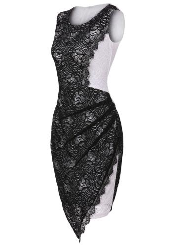 New Sexy Women Sleeveless Lace Mini Dress O Neck Back Zipper Bodycon Bandage Dress Black