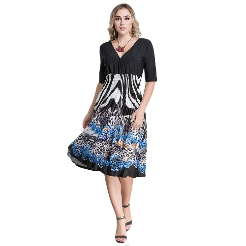 Sexy Kobiety Plunge V Neck Print Plus Rozmiar Sukienka Big Size Knee-Length Midi Party Dress Black