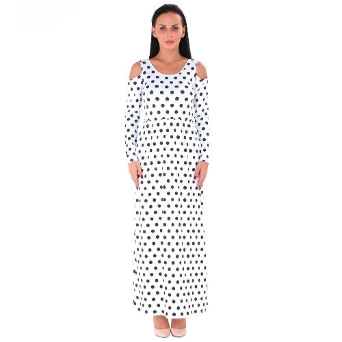 Otoño Mujer Maxi Vestido Polka Dot Off Hombro manga larga Casual vestido de fiesta Negro / Azul / Blanco