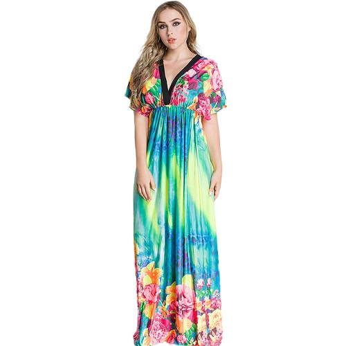 Elegante vestido de mujer Maxi vestido de impresión floral plunge V cuello manga de manga larga ruso vestido de seda Azul