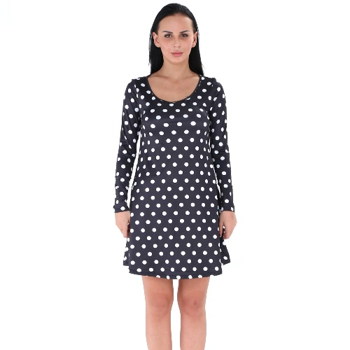 Frauen Polka Dot Mini Kleid O-Neck Langarm Pullover Casual A-Line Kleid Schwarz / Weiß / Blau