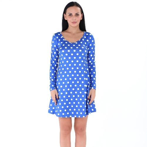 Mujeres Polka Dot Mini vestido O-cuello de manga larga suéter Casual A-Line vestido Negro / Blanco / Azul