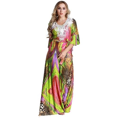Vestido muçulmano com tamanho feminino Grande vestido de crochet colorido gravata com pescoço pescoço com cintura alta Vestido islâmico vestido longo